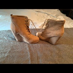 Forever 21 Tan/Blush lace up wedges